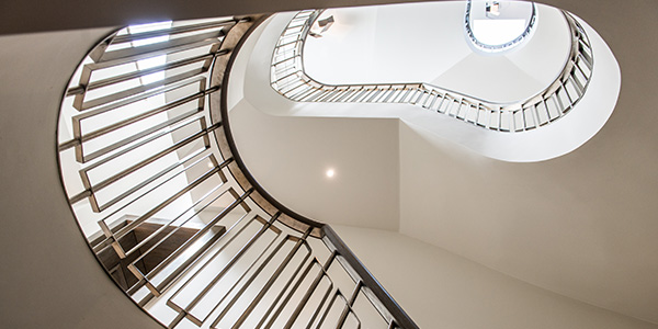 Main helical staircase to 54 Bedford Gardens, Notting Hill, London, UK - Client and main contractor, Bancroft Heath: Architect, Nash Baker Architects: Interior Designer, Desalles Flint: - Architectural metalworks, John Desmond Ltd.