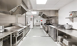 Commercial kitchen in stainless steel with antimicrobial finish