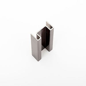 MP04-O In Bronze Brush PVD coated 1.25mm stainless steel. This profile was used to create the look of solid bar material for the Shangri La Call Button panel
