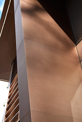 15 Fetter Lane, EC4A, London. - PVD stainless steel brise soleil, canopy and column.