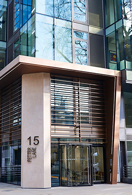 15 Fetter Lane, EC4A, London. - After: New façade of PVD stainless steel brise soleil, canopy and column.