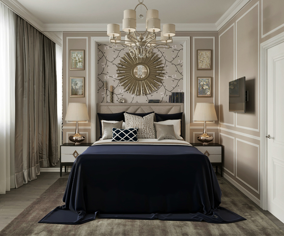 Midnight blue, pale gold and taupe bedroom by Décor Lusso