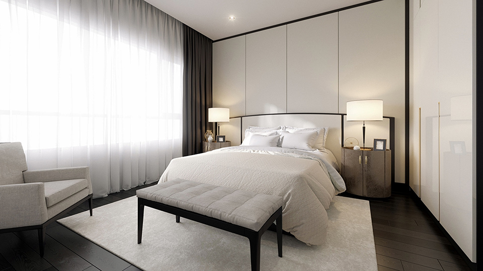 Dark timber and ivory bedroom by Décor Lusso