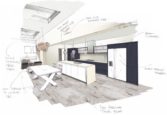 Kitchen, ground floor side extension Perspective presentation sketch showing layout and finishes - Interior Design: Studio Beekhuis