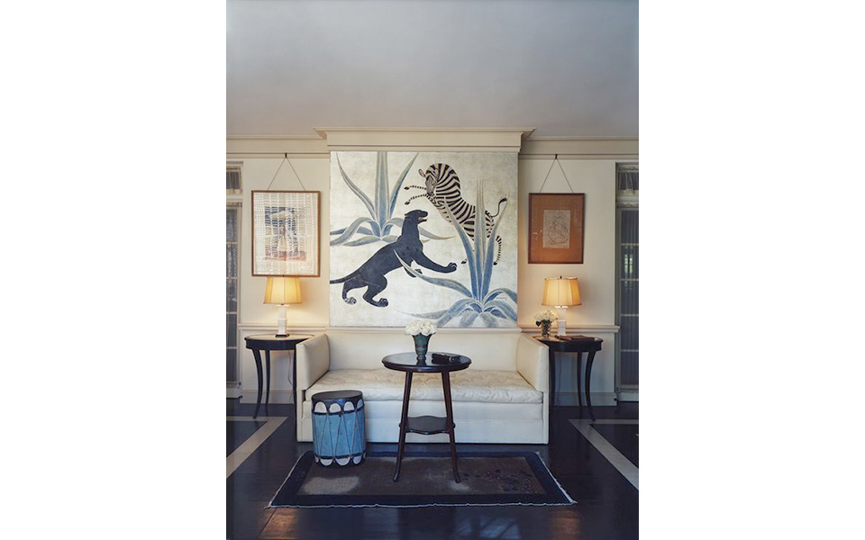 The sunroom of the house of Countess Dorothy di Frasso by Else de Wolfe later rented to Marlene Dietrich. This room features artwork by Charles Baskerville commissioned by Elsie de Wolfe.