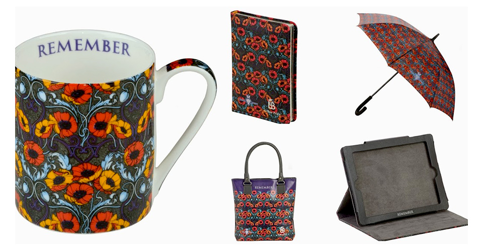 The range of products, mug, golfing umbrella, shopping bag and ipad case, in Laurence Llewellyn Bowen's 'Remember' collection with the design openly borrowed from William Morris.
