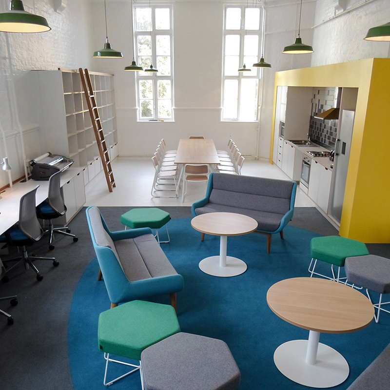 The staffroom within this old Victorian school in Southwark was designed to retain talent and promote collaboration between staff. The interior scheme has an apartment feel rather than an institutional one. This project was selected as a RIBA case study in their 'Future Schools' publication. - Interior design by Contents Design
