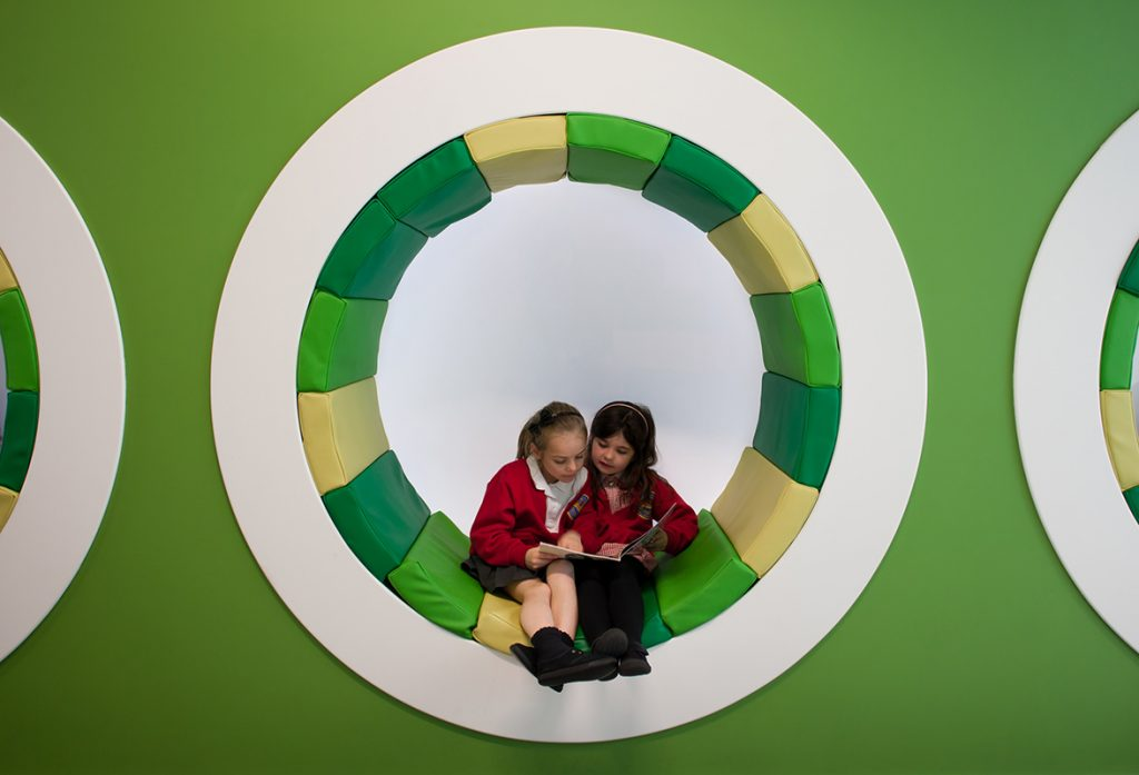 The scheme for Harton Primary School focussed on the potential of teaching and learning outside the classroom. We designed new, innovative spaces, including these bespoke, integrated seating hoops, for children to choose how they learn promoting independence and self-confidence. - Interior design by Contents Design
