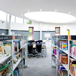 The High Heaton Library, a new-build branch library in Newcastle (designed by Ryder) was the pilot scheme for the £40M PFI project for new 21st Century Libraries in Newcastle. We worked with Newcastle City Council to ensure the rebrand of their library service was conveyed within each of the library spaces. We led the design on their subsequent £27M City Library which won several awards specifically for accessibility and interior design. - Interior design by Contents Design