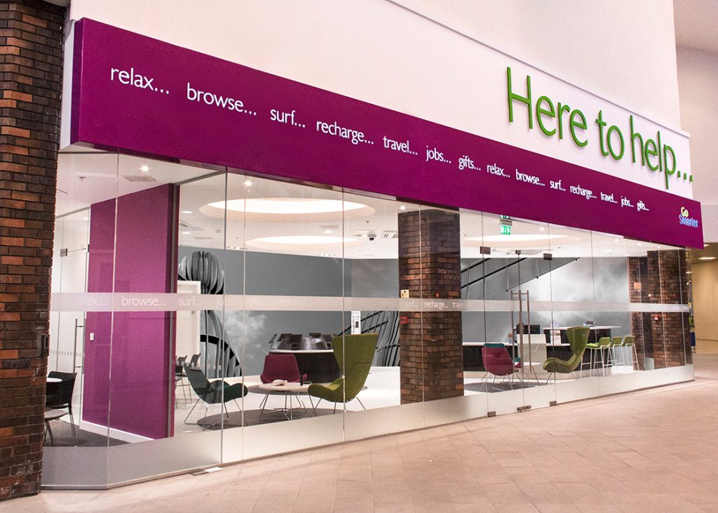 This Customer Lounge is one of three interior schemes completed for shopping centre INTU Metro Centre, providing an informal place to relax and gain access to all INTU information, online or with staff. The scheme features bespoke joinery designed to seamlessly interface with portable devices such as iPads and phones. - Interior design by Contents Design