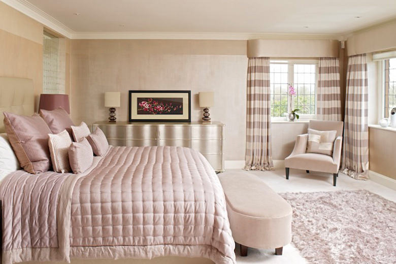 Serene and pretty bedroom in a family home, Hildenborough, Kent. - Interior design by FiSHER iD