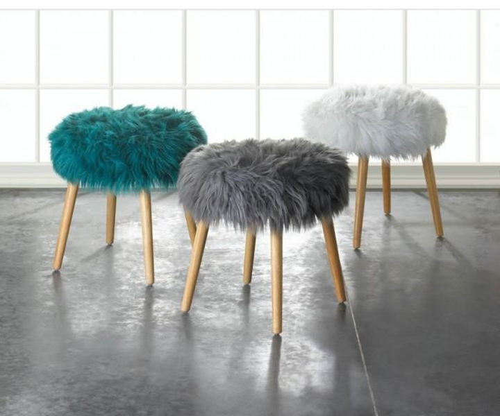 Teal, Gray and white faux fur footstools from Giftspiration