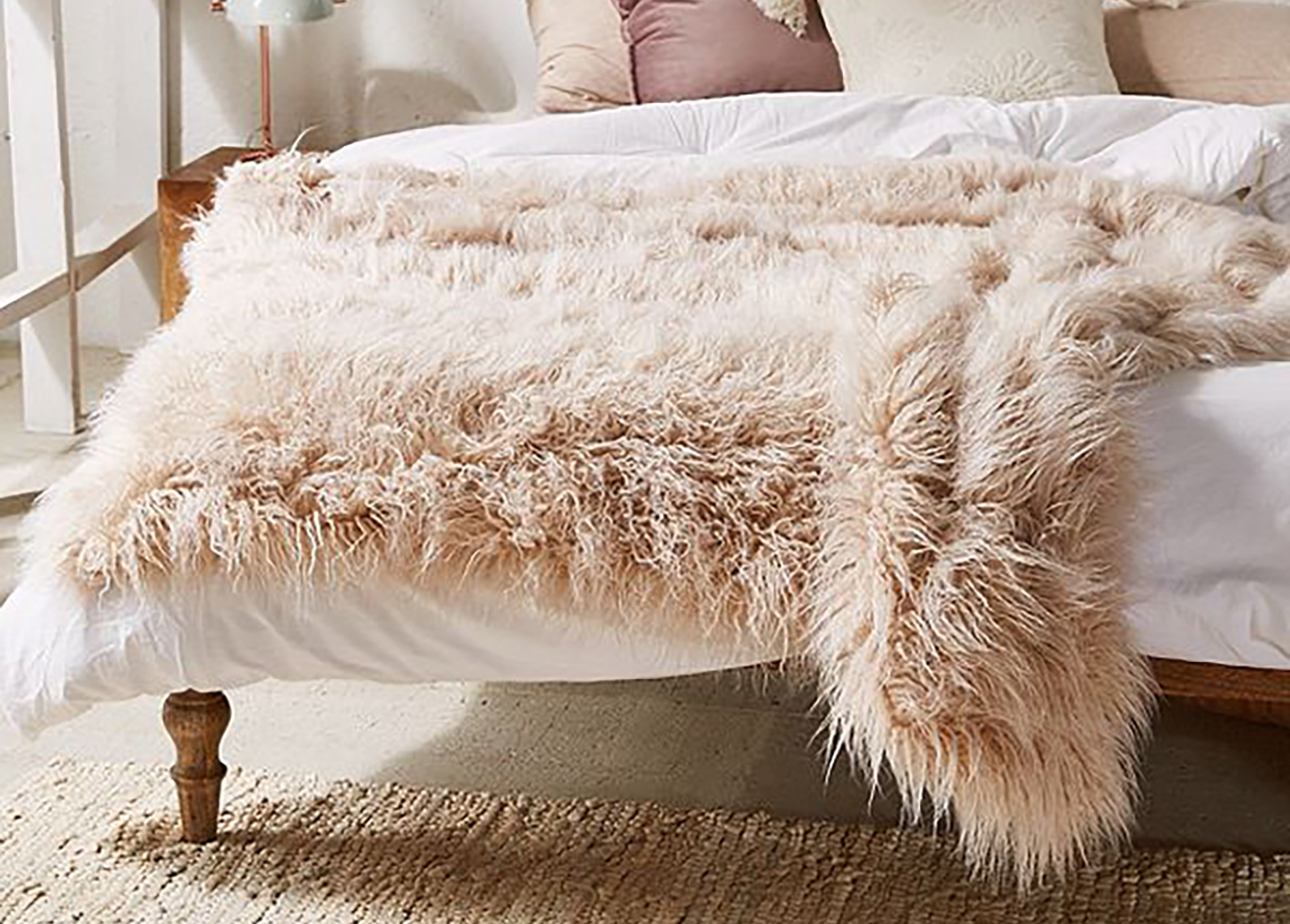 Marisa Tipped Faux Fur Throw Blanket from Urban Outfitters