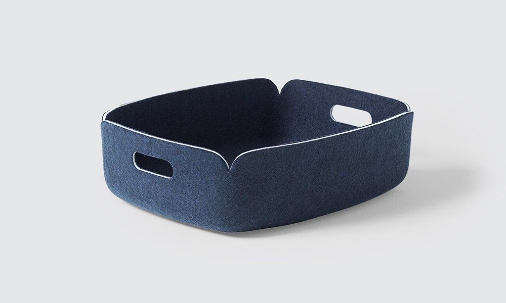 Muuto Restore Storage Basket. Made to appear and feel like wool felt but in actual fact is made from recycled plastic bottles.