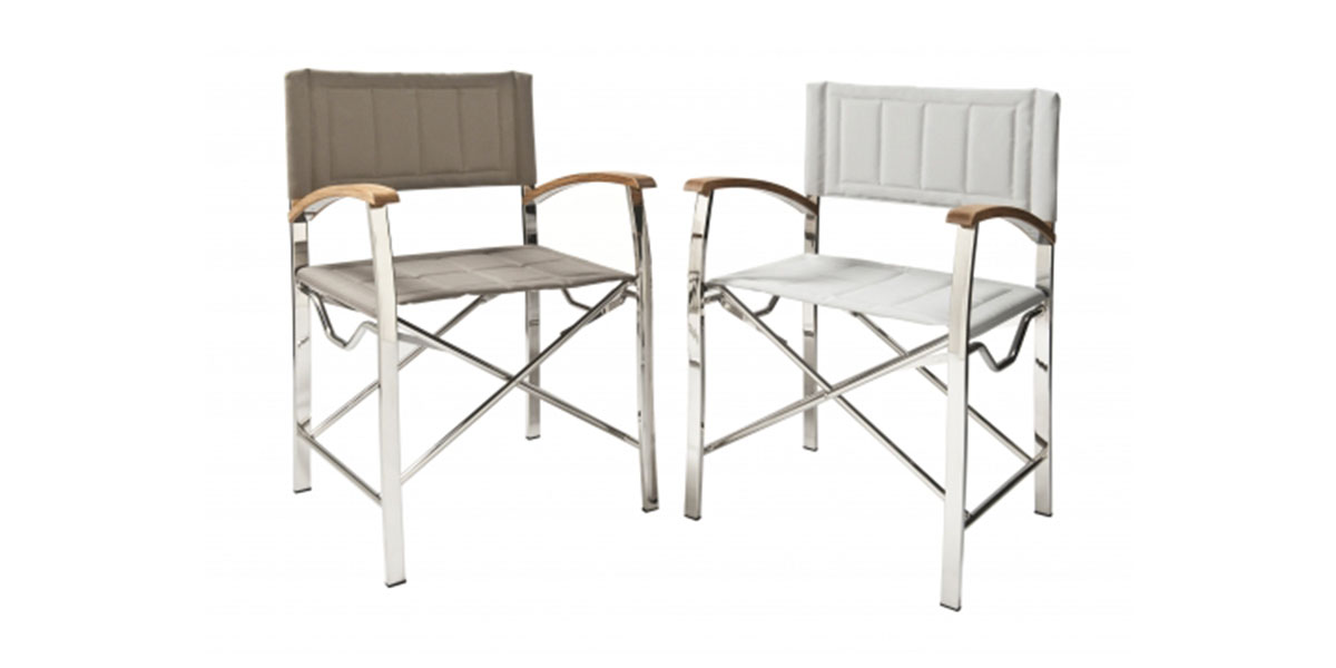 Yacht furniture - Stainless steel (grade 316) frame with teak armrests by Timage.