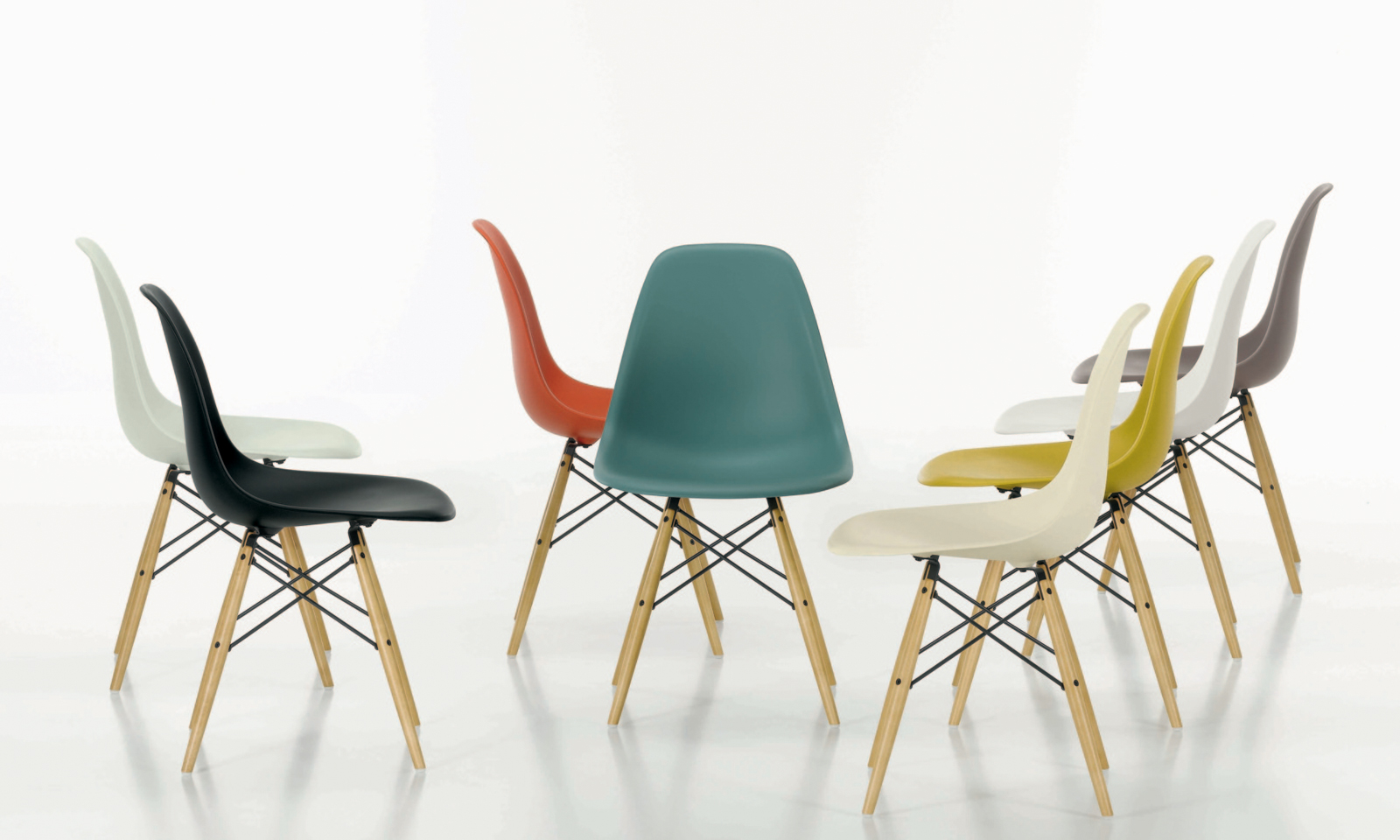 The presentation of this Eames DSW chair is the wrong way to show a product for interior designers and architects. There is no single clear representation of the product and also it would be impossible to crop to obtain a clear, uninterrupted image. Interior designers are used to having to crop images to get what they want but this image would be impossible even to crop.