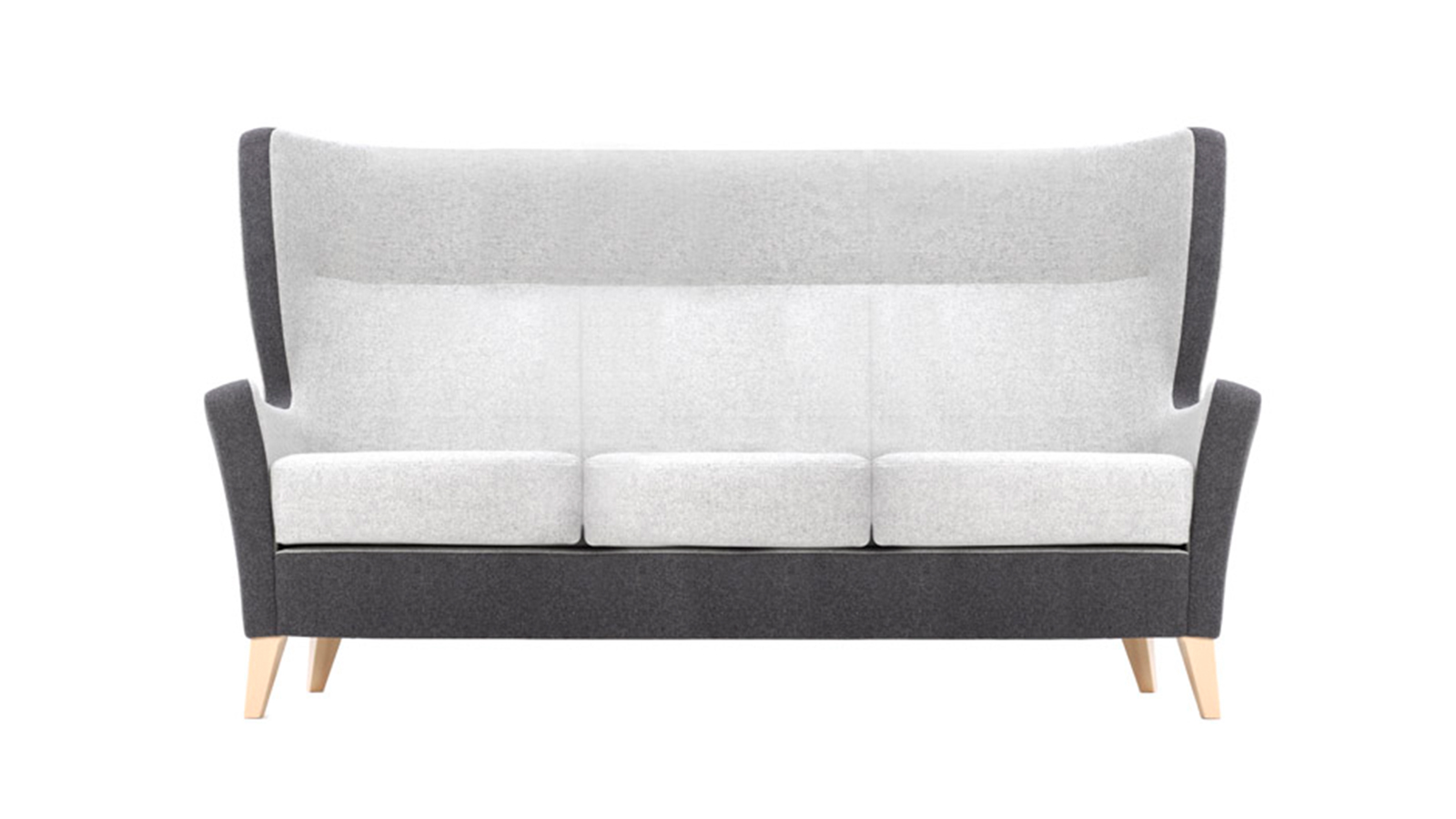 This is the right way to show a sofa product – singly, with a clear background. There is no prop-styling which detracts, or distracts, from the product and no background colour or detail which means the product can be rapidly assessed by a professional specifier.