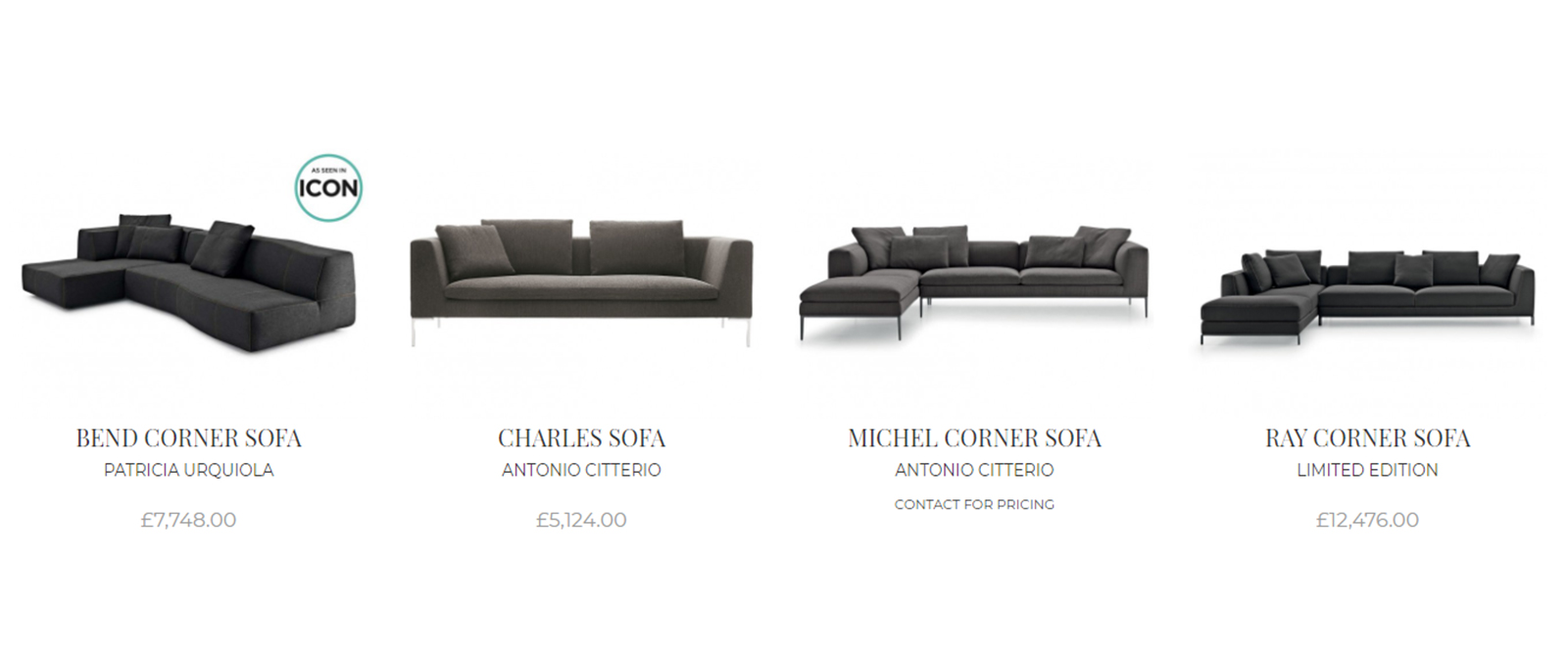 Including prices with the product image is again a retail presentation. Contract furniture is not presented with a price. These sofas, presented with their prices, are typical of a retail format which is likely to repel a professional specifier.