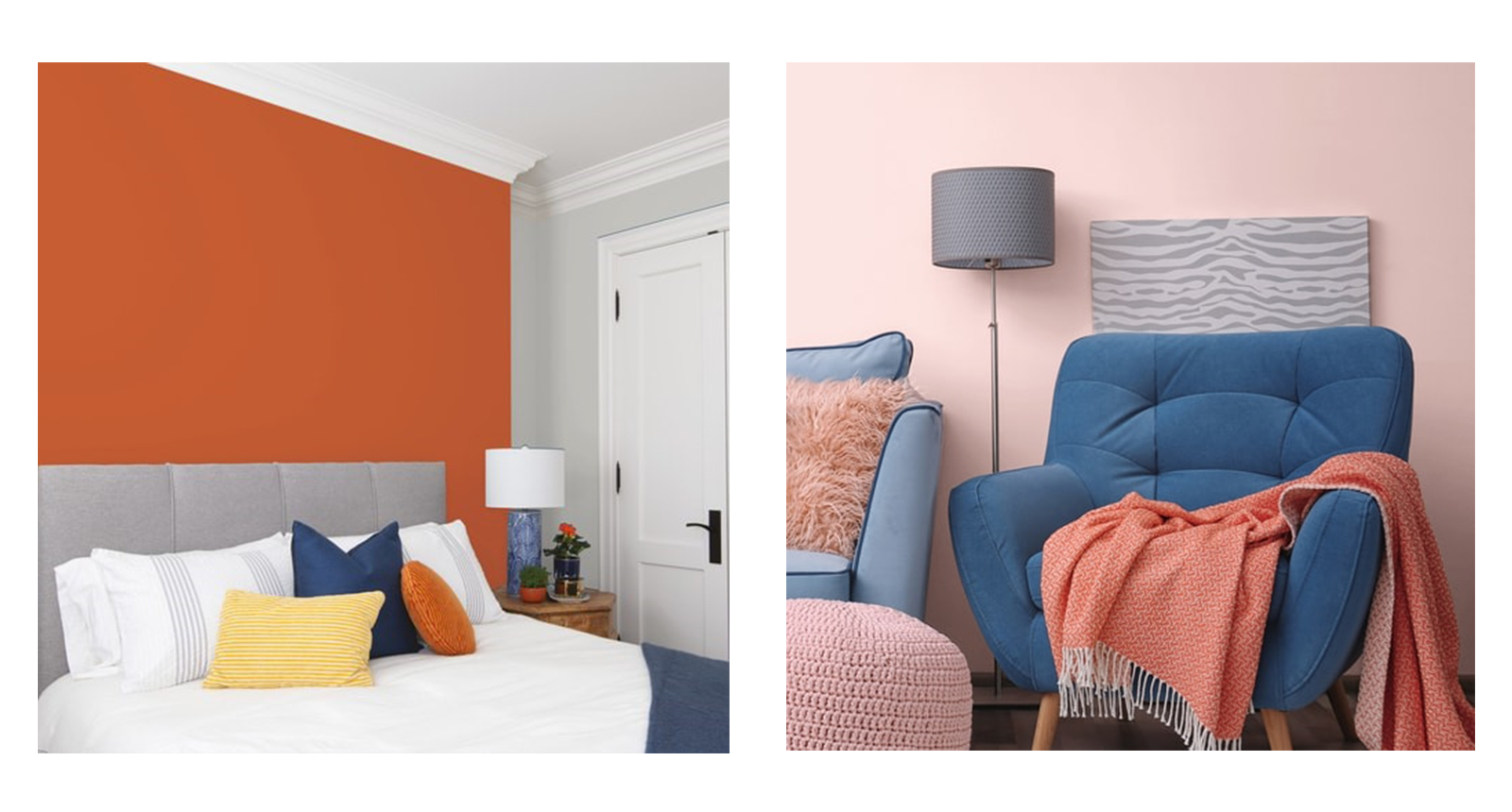 "The images above are propped room-sets to demonstrate the colours of a paint product. This format will be familiar to anyone who has looked for paint colours however it is a distinctly retail style of approach. Images like this serve no purpose to a creative specifier as the colour rendition, being manipulated is not a realistic representation of how the colour performs within a space. There is no natural lighting or shadow and even the give-away ""eye-dazzle"" effect where the edge of a photoshopped area meets an object."