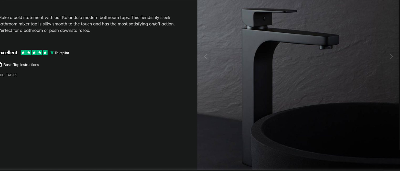 This image of a black tap in a dark setting is not only very difficult to read but a basin in the foreground masks the base of the product. Not only does this make it hard for a creative specifier to assess the product but this image could not be put forward as part of a presentation to a client.